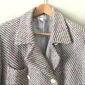 Retro Neiman Marcus 100% silk pastel tweed blazer